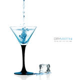 Glass of Dry Martini, Gin Cocktail Isolated on White Stock Photos