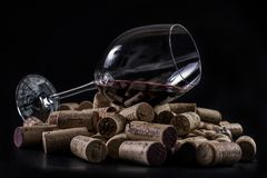 Glass of dry red wine stock photography