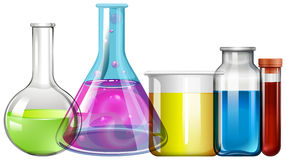 Glass dryckeskärlar med färgrik flytande stock illustrationer