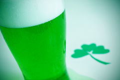 Glass with dyed green beer and three-leaved shamrock, for saint Royalty Free Stock Image