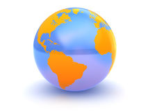 Glass earth. Abstract 3d illustration of glass earth globe over white background royalty free illustration