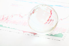 Glass earth ball on the financial chart Stock Image