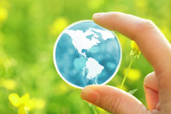 Glass earth in flowers Stock Photos