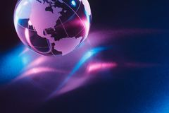 Glass earth globe. Pink and blue glass earth globe stock illustration