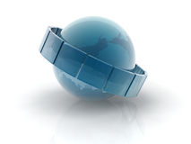 Glass earth sphere. 3D glass earth sphere on white background.Elements of this image furnished by NASA stock illustration