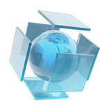Glass earth sphere. On white background.Elements of this image furnished by NASA stock illustration