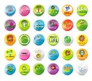 Glass eco badges Royalty Free Stock Image