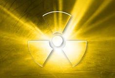 Glass effect radiation symbol background Stock Photography