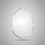Glass egg. Glowing glass panel in the form of Easter egg on a gray background, illustration Stock Images