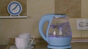 Glass elektrisk kokkärl som kokar att koka stock video