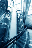 Glass elevator. Glass tubular elevator in modern building Royalty Free Stock Photo