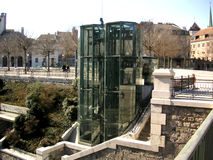 Glass elevator. In Geneva, Swtizerland Royalty Free Stock Photography