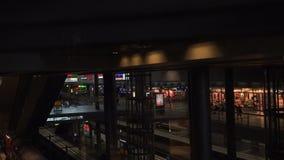 Glass elevator inside Berlin main station stock video