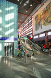 Glass elevator inside train station in Innsbruck Royalty Free Stock Photography
