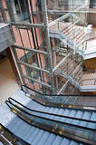 Glass elevator shaft. In a modern office building Royalty Free Stock Images