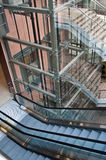 Glass elevator shaft Stock Photo
