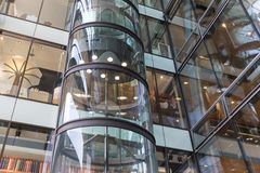 Glass elevator  in shopping mall 'Europassage' in Hamburg, Germany Stock Photos