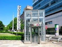 Glass elevator on street, urban infrastructure, subway in Vienna Stock Photos