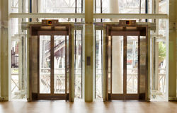 Glass elevator. For support people Royalty Free Stock Images
