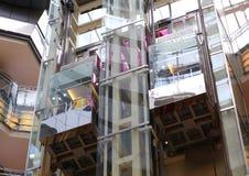 Glass elevator Stock Photo
