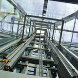 Glass elevator. View from the inside a glass elevator Royalty Free Stock Images