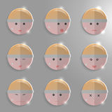 Glass emotions faces. Set illustration Royalty Free Stock Photography