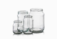 Glass. Empty glass jar over white background Royalty Free Stock Images