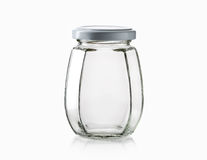 Glass. Empty glass jar over white background Stock Photo