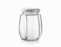 Glass. Empty glass jar over white background Royalty Free Stock Photo