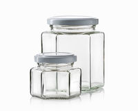 Glass. Empty glass jar over white background Royalty Free Stock Image
