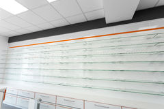Glass empty shelves Royalty Free Stock Photography