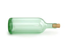 Glass empty wine bottle with cork. On white. 3D rendering with clipping path Royalty Free Stock Image
