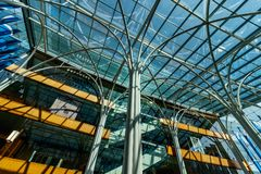 Indianapolis - Circa March 2018: Glass encased Atrium at the Indianapolis Central Library II Royalty Free Stock Images