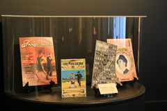 Glass encased magazines covering the Tango craze,National Museum Of Dance,Saratoga,2015. Large glass-encased exhibit of magazines chronicling the history of royalty free stock photo