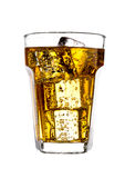 Glass of energy drink with bubbles and ice cubes Royalty Free Stock Image