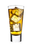 Glass of energy drink with bubbles and ice cubes Royalty Free Stock Photography