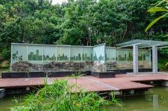Glass engraving. The park has a long tall, a description of the shenzhen city glass engraving Stock Photos