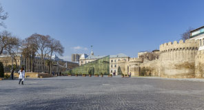 Glass entrance to the subway and the ancient fortress in Baku Royalty Free Stock Photos