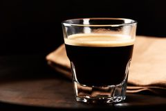 Glass of Espresso on dark background. Royalty Free Stock Photo