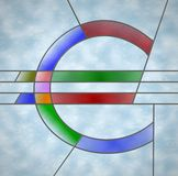 Glass euro. Stained glass depiction of a euro symbol in coloured glass and lead piping vector illustration