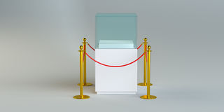Glass exhibition with rope barrier. 3D Illustration vector illustration