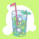 Glass with exotic cocktail vector illustration royalty free illustration
