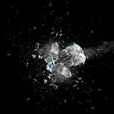 Glass explosion. Close up image of glass ball explosion stock photo