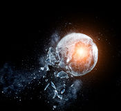 Glass explosion. Close up image of glass ball explosion royalty free stock image