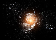 Glass  explosion. Close up image of glass ball  explosion Royalty Free Stock Photos