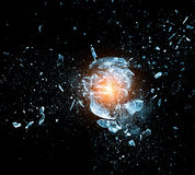 Glass explosion. Close up image of glass ball explosion stock images