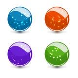 glass färgrik uppsättning för sphere 3d med reflexion Arkivfoto