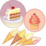 Glass för illustrationuppsättningkaka Fotografering för Bildbyråer