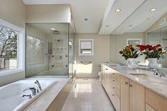 glass förlaga dusch för bad Arkivfoto