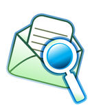 glass förstoring för e-postkuvert royaltyfri illustrationer